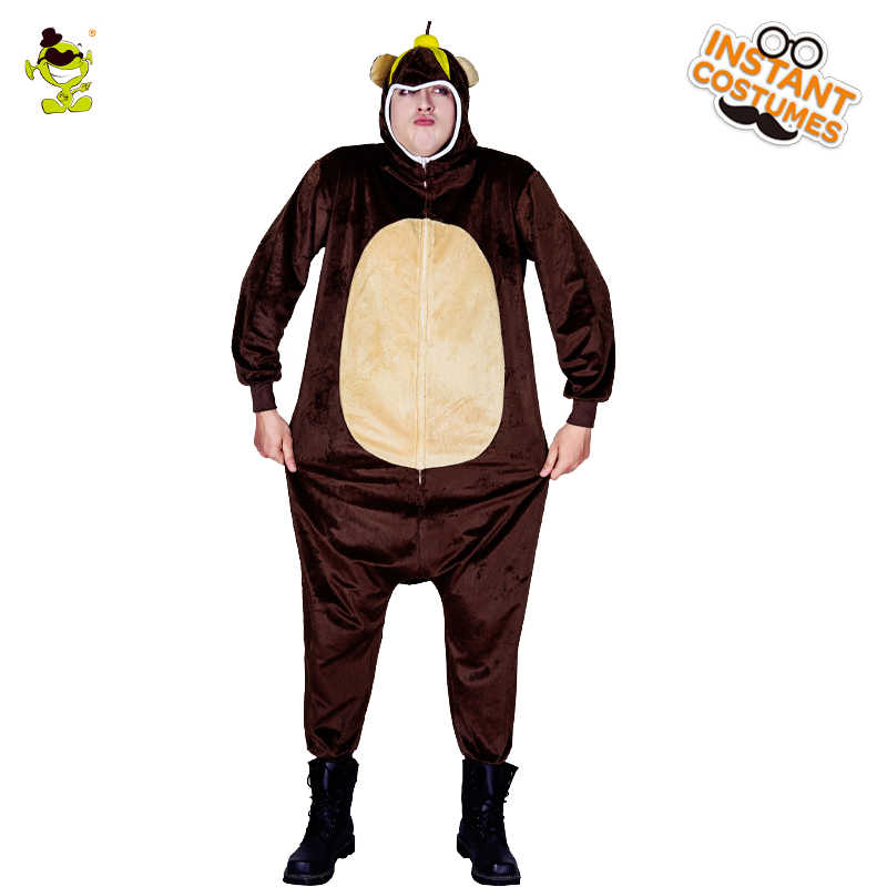 New Arrival Men Bear Pajamas Costume Design Winter Sleepwear Jumpsuit Brown Masquerade Cute Bear Pajamas Clothing For Adult Men