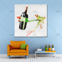 Pop Art Best Gift 100 Handpainted Drink Frog Oil Painting On Canvas Handmade Abstract Animal Paintings