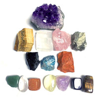 Natural amethyst cluster combination 15 pcs Crystal ore chakra treatment of amethyst cluster crystal chakra Yoga chakra