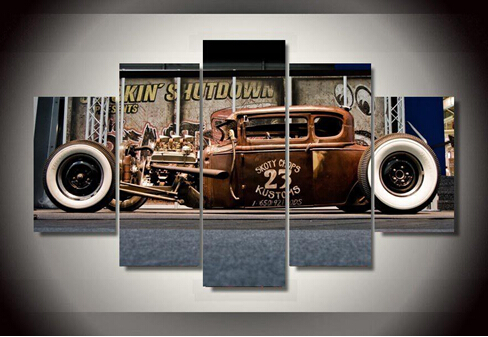 5 panel framed printed antique classic car group painting room decor print poster picture canvas decoration