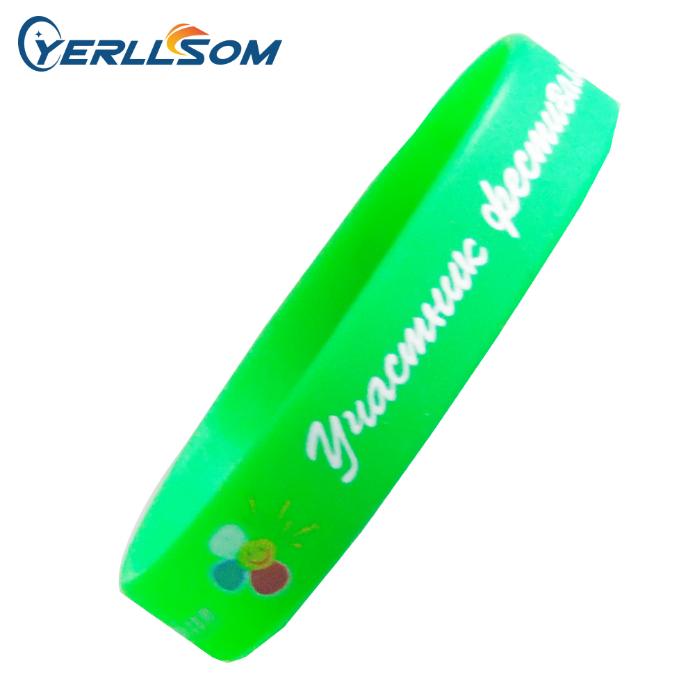 YERLLSOM 500PCS lot Free Shipping Customized Printed 2colors silicone bracelets with personal logo for gifts P18011305