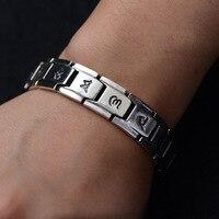 S925 pure Silver personality retro buckle Thai silver classic wrist ornaments six words 2018 men's new bracelet.