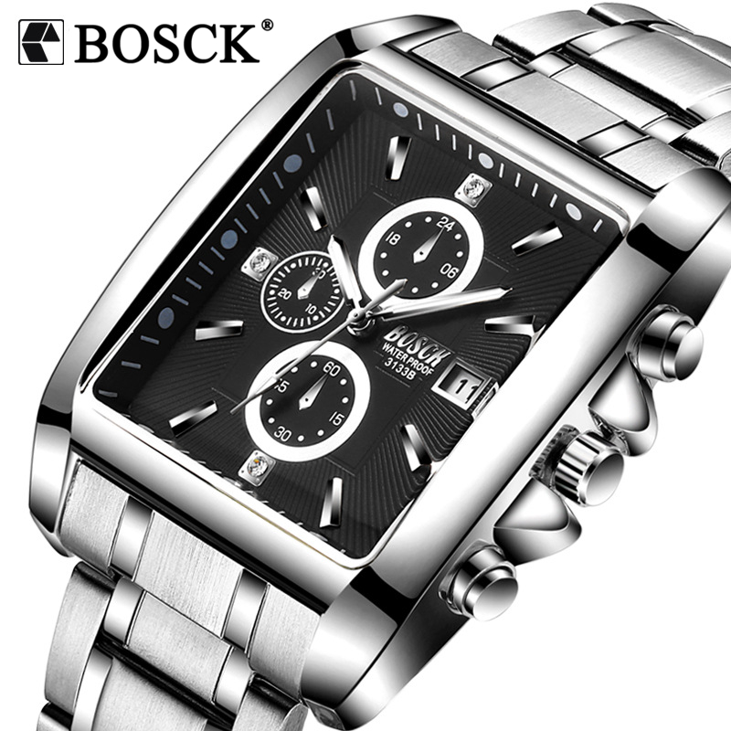 BOSCK Luxury Brand Mens Watches Business Watch Mens Military Quartz Square Watches Stainless Steel Strap Casual Wristwatch Gift irisshine i0856 men watch gift brand luxury new mens noctilucent stainless steel glass quartz analog watches wristwatch