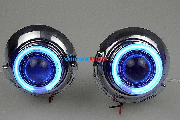 LED DRL feux de jour lumière CCFL angel eye, projecteur lentille brouillard lampe avec couverture pour peugeot 307, 2 pcs