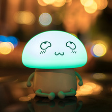 Cute Mushroom USB Children Silicone LED Night Light Soft Sensitive Touch Face Lamp Cartoon Baby Bed Pat lamp