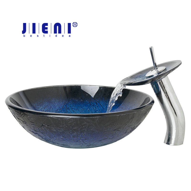 JIENI Bule Kitchen Single Handles Tap Bathroom Sink Washbasin Tempered Glass Lavatory Bath Sink Set Torneira