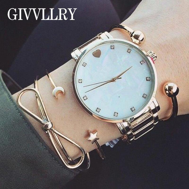 GIVVLLRY Elegant Geometric Bowknot Bangles Fashion Jewelry Punk Minimalist Gold Color New Moon Star Cuff Bracelets for Women