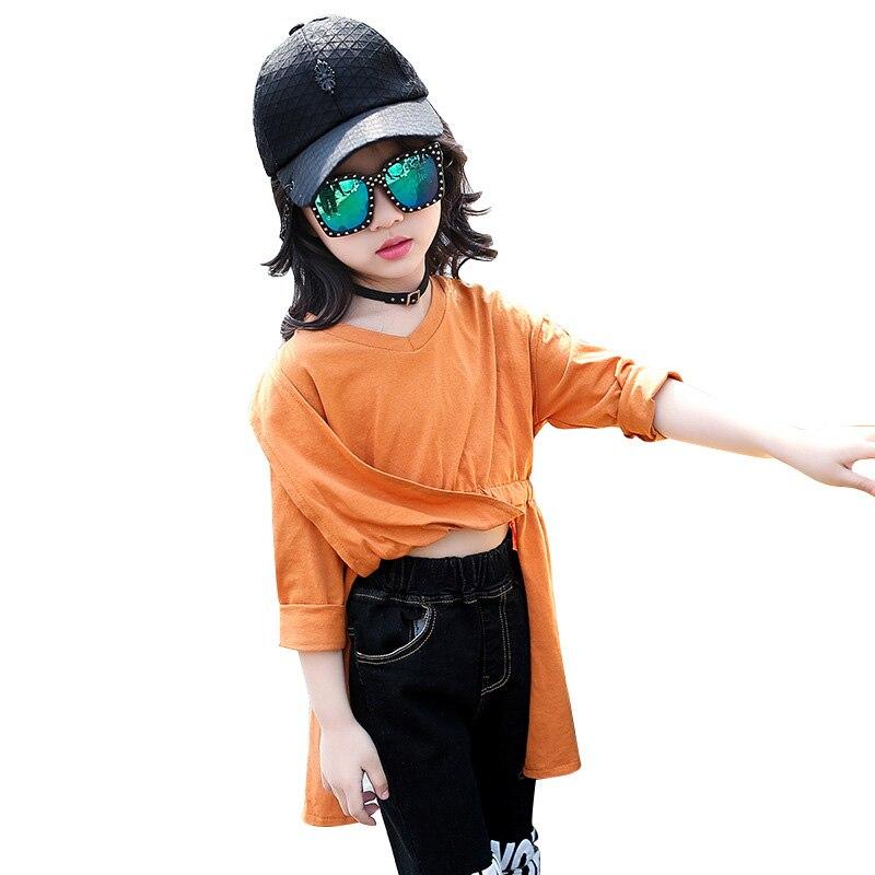 teenager girls t shirt 2018 new autumn baby girl tshirt long sleeve solid kids tee shirt enfant garcon girls bottom shirt 4-13T