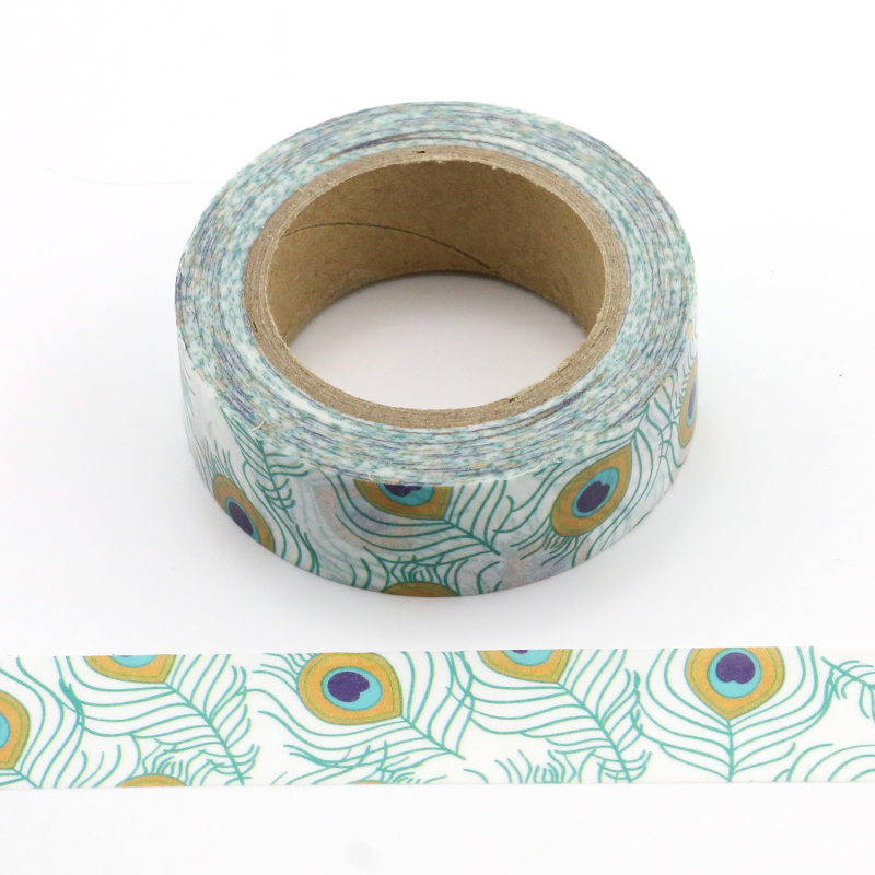 Lovely Plumes Of The Peacock Washi Tape Decorative Adhesive Tape Decora Diy Scrapbooking Sticker Label Stationery 1X