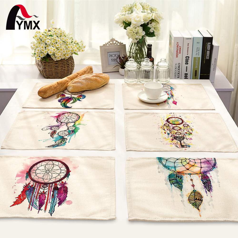 Kitchen Art 32cm: 42*32cm Dreamcatcher Printed Cloth Table Napkins Wedding