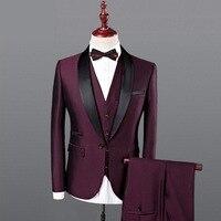 Для мужчин королевский синий смокинг костюм 2018 Нарядные Костюмы для свадьбы для Для мужчин 3 предмета Для мужчин s Slim Fit бордовый костюм CD50
