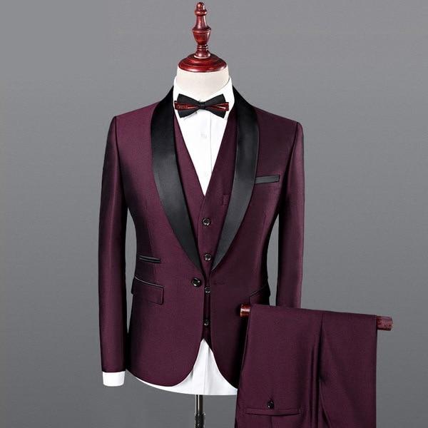 dc42d61c Men Royal Blue Tuxedo Suit 2018 Wedding Suits for Men 3 Piece Mens Slim Fit  Burgundy Suit CD50