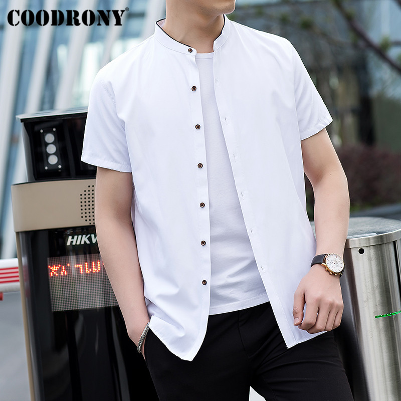 COODRONY Chinese Style Mandarin Collar Short Sleeve Men Shirt Summer Cool Cotton Shirt Men Business Casual Shirts Camisa S96017