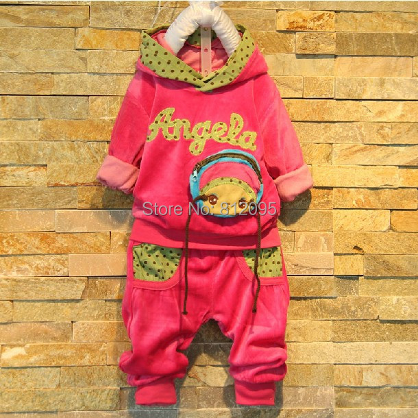 Retail Velvet children's girl clothing sets letter hoodies+pants 2 pieces suit 2014 autumn new LittleSpring GLZ-T0142 XLS