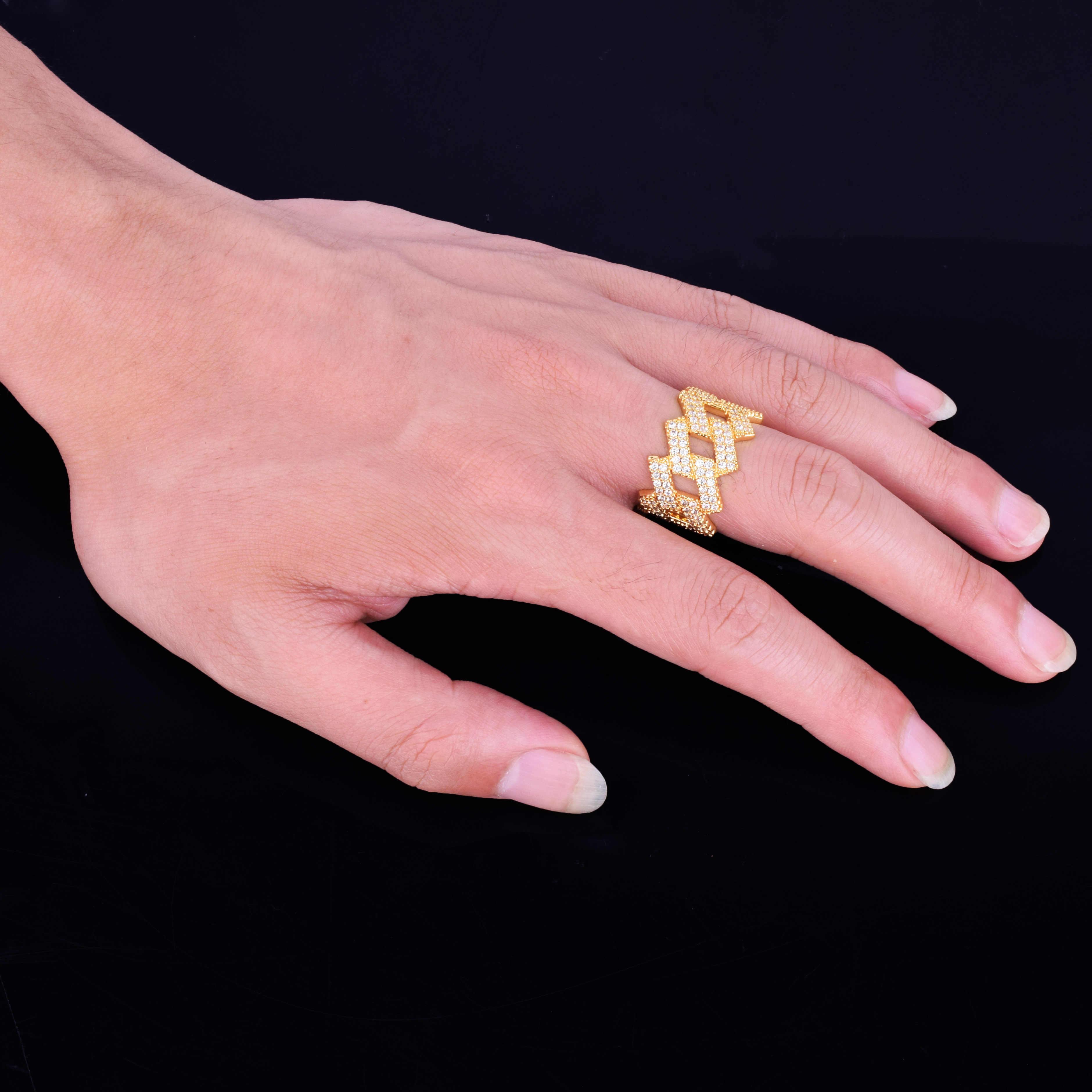 Miami Cuban Chain แหวนผู้ชาย Gold Silver Iced Out Zircon Hip Hop แหวน Rock เครื่องประดับ