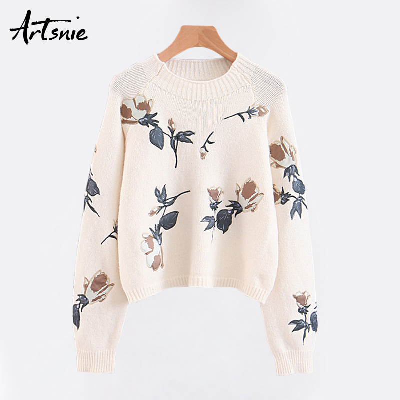 Artsnie White Streetwear Embroidery Floral Knitted Pullovers Women Autumn 2018 O Neck Long Sleeve Tricot Pull Femme Girl Sweater