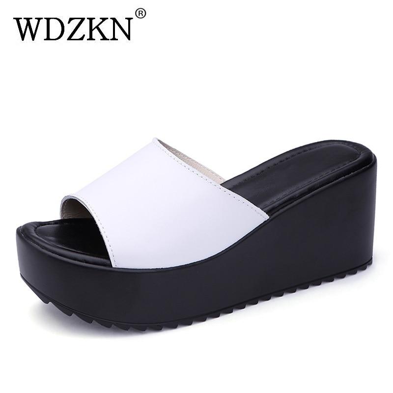 WDZKN Лето Для женщин танкетке вне слайды слипоны с открытым носком черный, белый цвет шлепанцы на платформе Модные женские Обувь на высоких к...