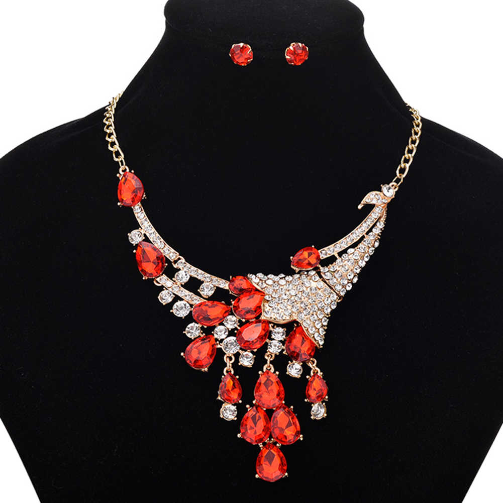 nigerian indian Women Luxury Wedding Bridal rhinestone Jewelry Sets Peacock Statement Collar Bib Necklace Earrings Mother's Day