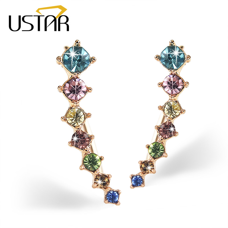 USTAR Multicolor Zircon kristal Stud Earrings untuk wanita fashion jewelry earrings wanita Brincos Rose warna Emas Ear Hook