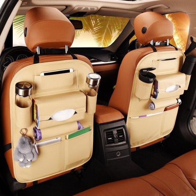 Da PU Sau Ghế Xe Ô Tô túi lưu trữ Đa Năng Ô Tô Xe Ghế Sau Người Tổ Chức Treo túi an toàn trẻ em ghế Đa Năng hộp bảo quản