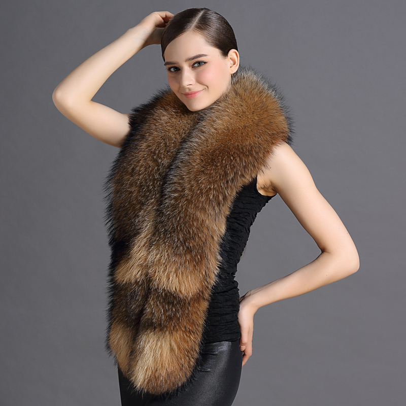 165cm Natural Raccoon Fur Scarves Feamle Fashion Warm Scarves For Women Winter New Fur Shawls and