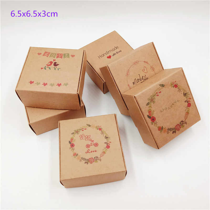 1pcs Small Lovely Square Shape Paper Boxes 6.5*6.5*3cm Kraft Airplane Gift Packing Box For Handmade Soap/Candy