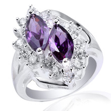 Women s Authentic 925 Sterling Silver Ring Fashion Jewelry Double 5x10mm Marquise Shape CZ Size 6