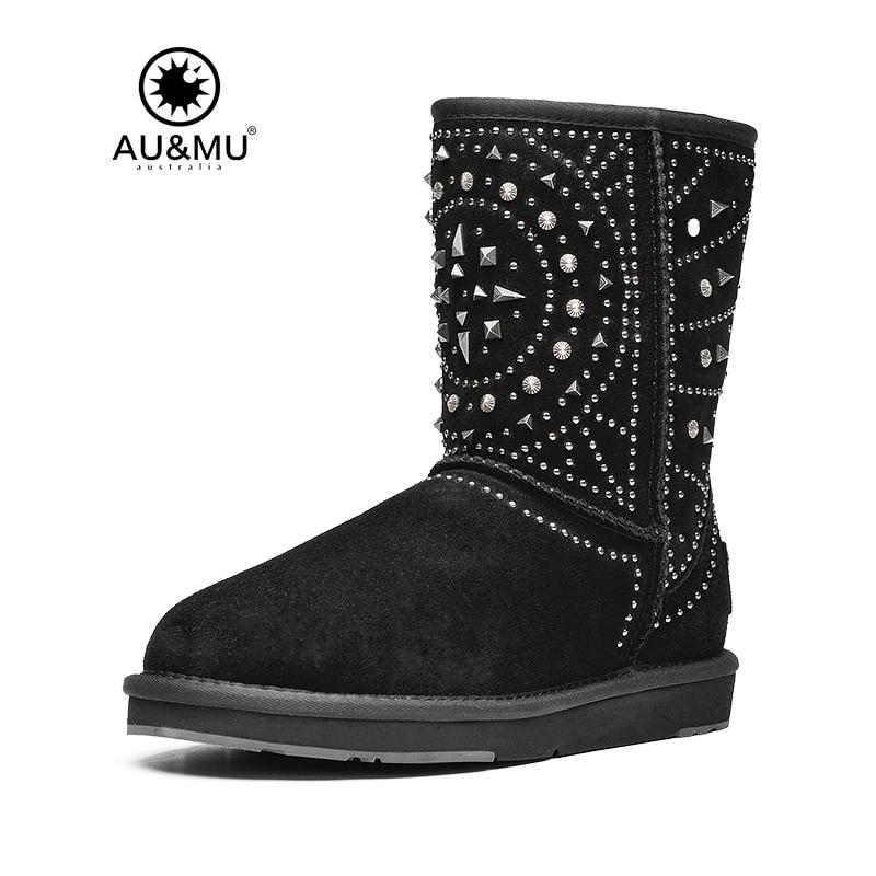 2017 AUMU Australia Rivet Suede Slip-on Thick Platform Rubber Soles Snow Winter Boots UG N372 2017 aumu australia fashion mini