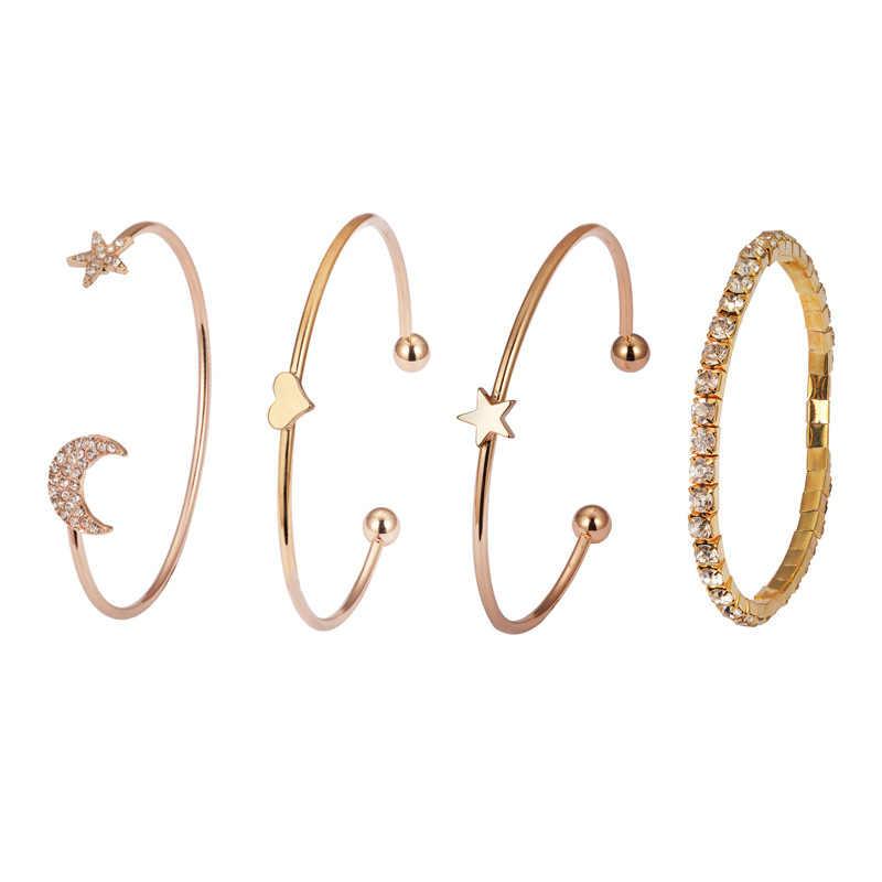 4 teile/satz Frauen Armbänder Böhmischen Pentagramm Pfirsich Herzen Sterne Mond Offenen Armband für Frauen Mode Bekleidung Schmuck Weihnachten Geschenke