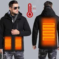 Chaqueta de calefacción de Carga inteligente USB ropa térmica de invierno ropa de fibra de carbono ropa termostática cálida (Banco de energía no incluida)