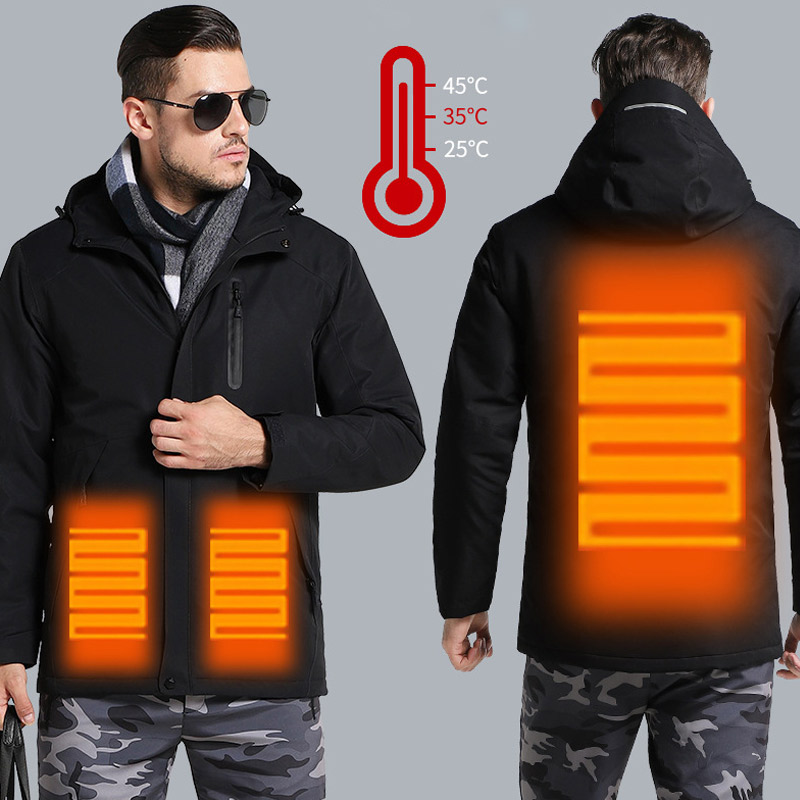 USB Smart Charging Heating Jacket Winter Thermal Clothing Carbon fiber Heating Warm Thermostatic Clothes (Power bank not include