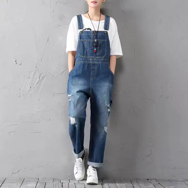5cd5b639886c Vintage Full Length Ripped Jumpsuits Loose Drop Crotch Jeans Overalls Women  Fashion Jumpsuits Plus Size 2colors