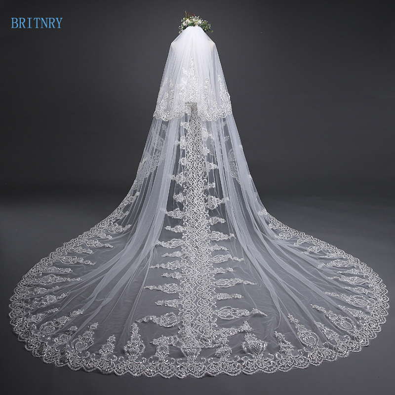 BRITNRY 2018 New Arrival Ivory Wedding Veil With Comb Lace Sequins High Quality Bridal Veil Two Layer Blusher Veil