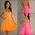 Custom Cute Empire Waist Strapless Sweetheart Beads Organza Cheap Homecoming Dresses Short Sweet Dresses Plus Size BG9.13.3