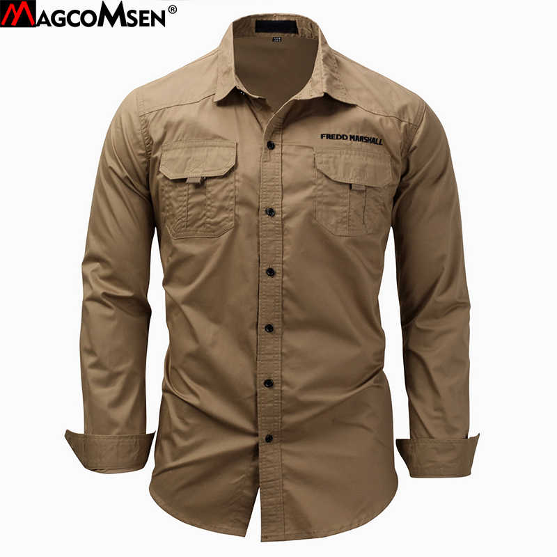 531aca0eb689 MAGCOMSEN Men s Shirts Autumn Long Sleeve Cotton Cargo Shirts Casual Dress Shirts  Men Military Army Tactical