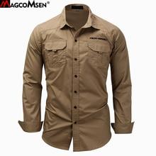 MAGCOMSEN Mens Shirts Autumn Long Sleeve Cotton Cargo Shirts Casual Dress Shirts Men Military Army Tactical Urban Work Shirts