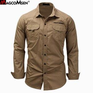 Image 1 - MAGCOMSEN erkek gömlek sonbahar uzun kollu pamuk kargo gömlek rahat elbise gömlek erkekler askeri ordu taktik kentsel iş gömlekleri