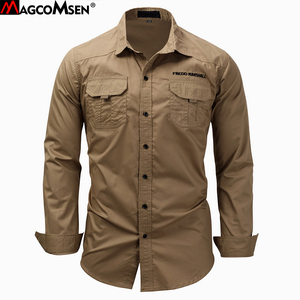 Image 1 - MAGCOMSEN 남자 셔츠 가을 긴 소매 면화화물 셔츠 캐주얼 드레스 셔츠 남자 군대 전술 도시 작업 셔츠