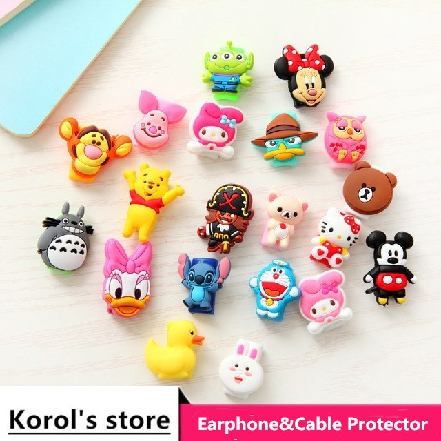 Anti fracture 10pcs/lot Cartoon USB cable Earphones Protector For iphone android cable Data Line Protection