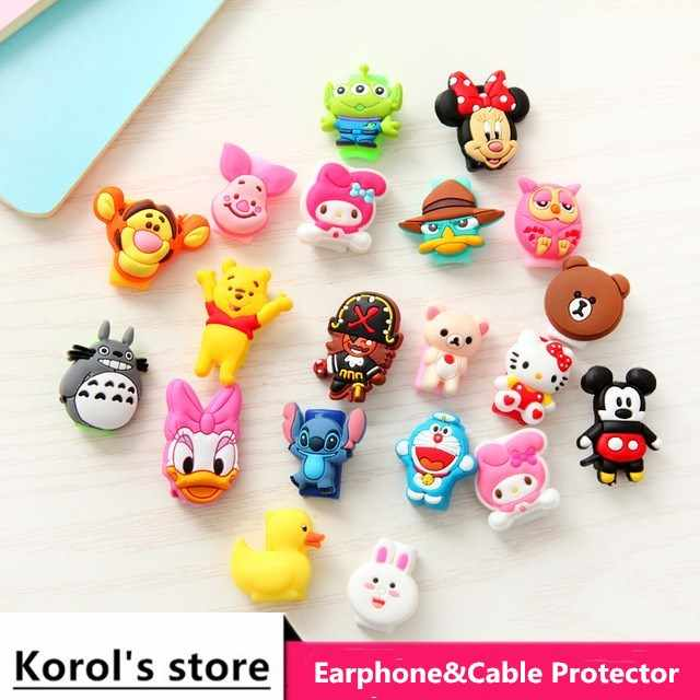 Anti-fracture 10pcs/lot Cartoon USB cable Earphones Protector For iphone android cable Data Line Protection