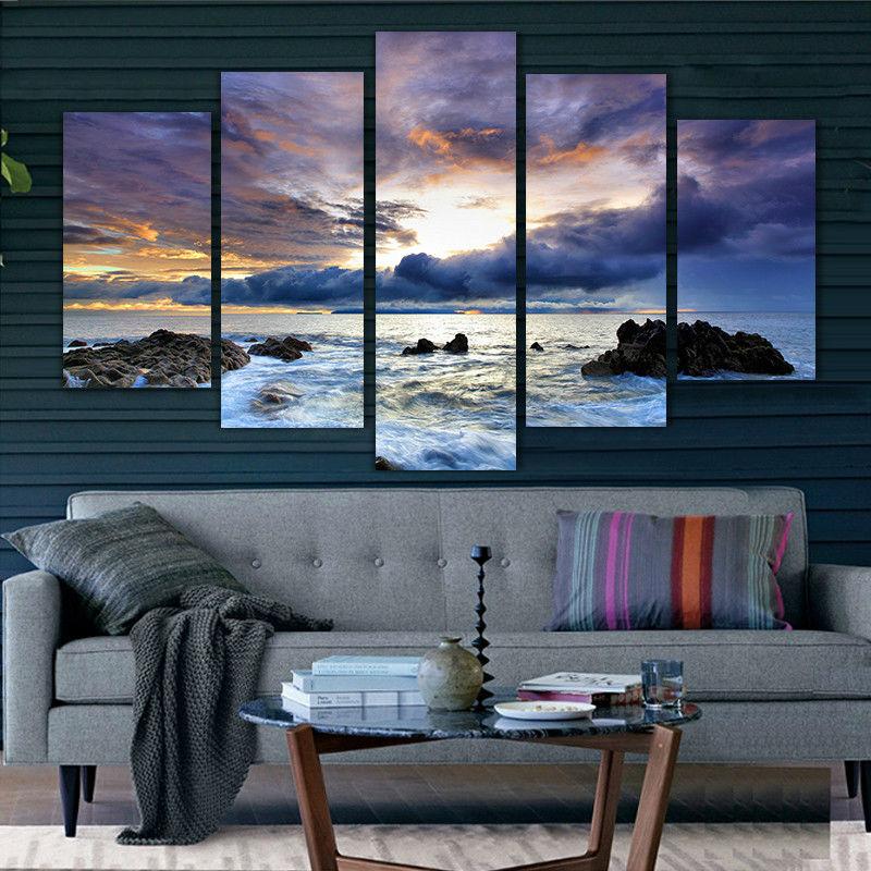 ღ Ƹ̵̡Ӝ̵̨̄Ʒ ღ5 paneles grandes carteles HD impreso pintura al óleo ...