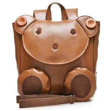 High Quality PU Leather 1-3 years old Baby Keeper Toddler Walking Safety Harnesses Bear Backpack Strap Bag