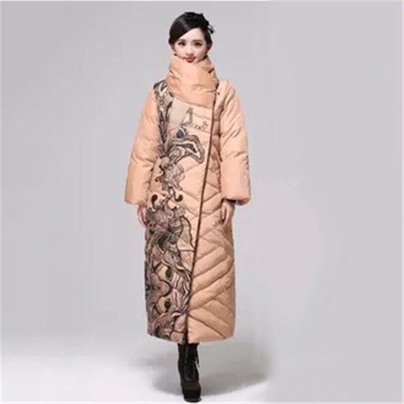 Winter women   down     coats   jackets Print warm woman   down   parkas Large size Casual female   down     coat   Loose White duck   down     coats   J937
