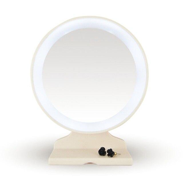 Белый Мода Настольный LED Подсветкой 180 Градусов Зеркало Для Макияжа Лица Круглые Светодиодные Перевозку Груза Падения Оптовая