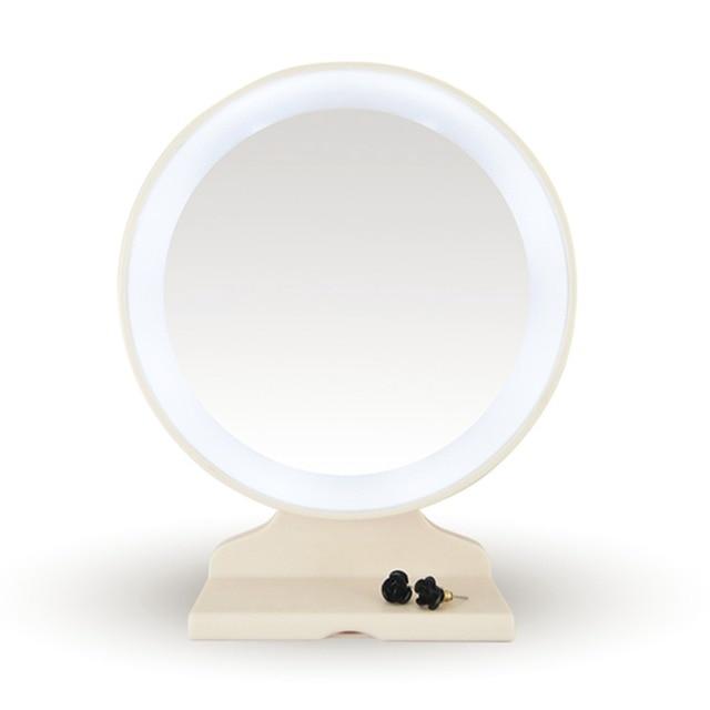 Mesa Moda branco LED Iluminado Espelho de Maquiagem Rosto Redondo CONDUZIU a Luz de 180 Graus Transporte da gota Atacado