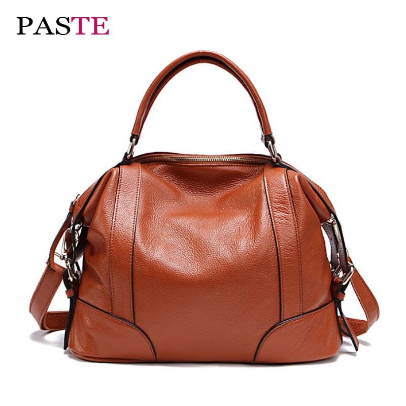 PASTE Brands high quality genuine leather women's handbags luxury designer fashion lady's shoulder large capacity crossbody bag high quality manual paste