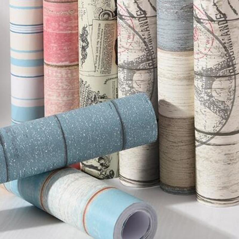 Vintage Vinyl Wooden Self Adhesive Wallpaper Furniture Renew Dormitory Bedroom Wall Paper Waterproof Decorative Wall Stickers