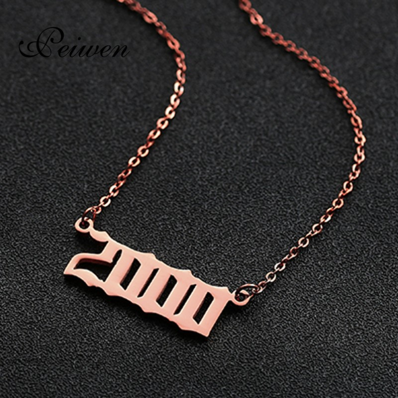 Stainless Steel Old English Year Number Pendant Necklace Custom Jewelry Special Date Year 1980 2019 Birthday Anniversary Gift in Pendant Necklaces from Jewelry Accessories