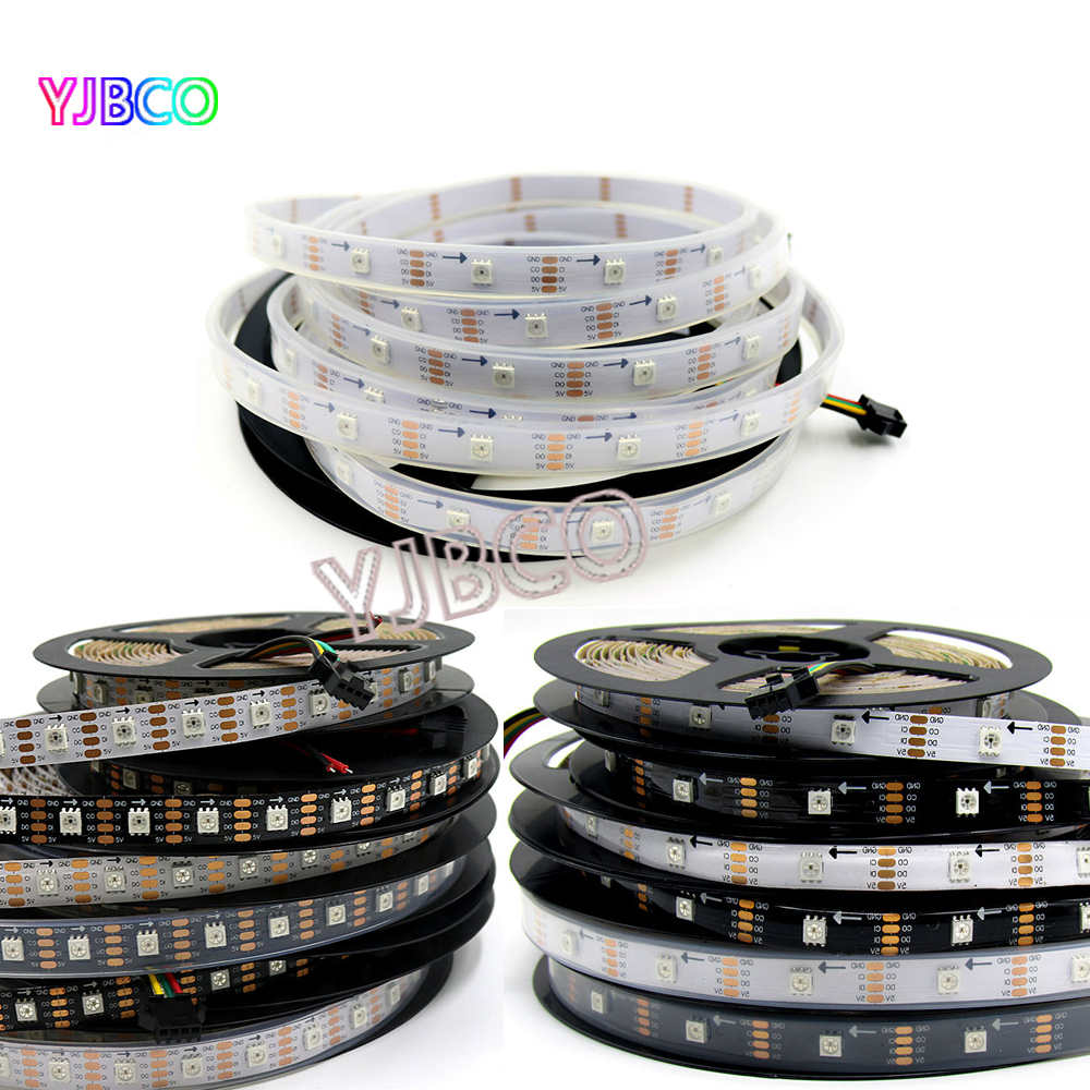 APA102 DC 5 v 1 mt/5 mt Smart Schwarz/Weiß PCB LED Streifen, SK9822 30/60/72 leds/pixel/m, IP30/IP65/IP67 pixel address