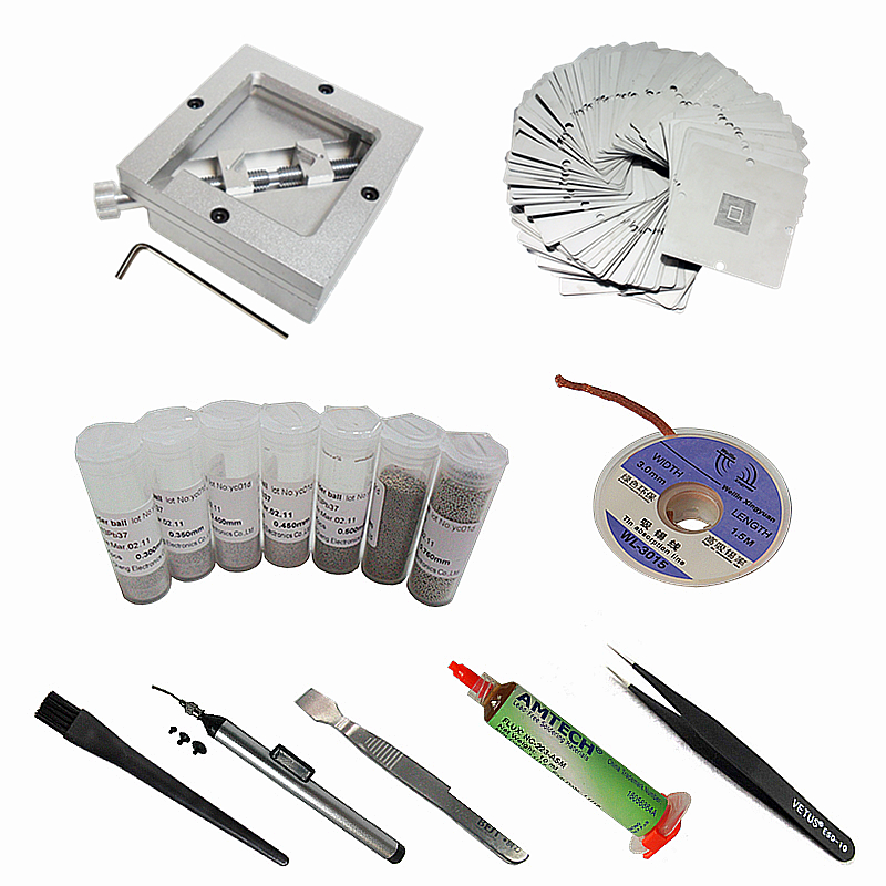 24pcs/lot 90*90mm BGA Reballing Jig Kit 7pcs 25K Solder Ball 10pcs 90mm BGA Universal Heating Stencils 223 Flux ESD-10 Tweezers